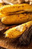 stock photo of corn  - Grilled Corn on the Cob with Salt and Butter