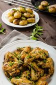 image of roast chicken  - Roasted chicken wings with new potato  - JPG