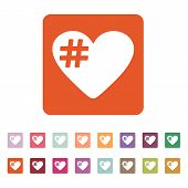 stock photo of hashtag  - The hash love icon - JPG