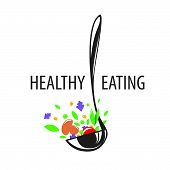foto of ladle  - vector logo ladle and vegetables for a healthy diet - JPG