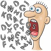 image of screaming  - illustration with character who screams with big open mouth - JPG