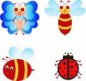 picture of bee cartoon  - isolated cartoon insect vectors of bees - JPG