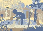 pic of puppies mother dog  - EPS8 editable vector cutout illustration of a family gardening with two puppies and wildlife - JPG