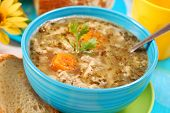 picture of tripe  - traditional polish tripe soup with vegetables in blue bowl - JPG