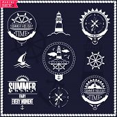 picture of wind wheel  - Set of vintage marine logos - JPG