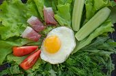 picture of scrambled eggs  - Breakfast with scrambled eggs bacon greens vegetables on the black plate - JPG