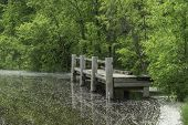 stock photo of dock a pond  - A fishing dock on the shore of a lake with water dotted with foam - JPG