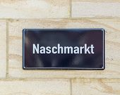 stock photo of leipzig  - street sign Naschmarkt at a wall in Leipzig Germany  - JPG