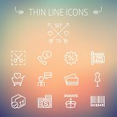 stock photo of barcode  - Business shopping thin line icon set for web and mobile - JPG