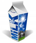 picture of milk  - White packaging of fresh milk with text Milk blue sky with clouds and sun rays steel cans for the transport of milk green grass - JPG