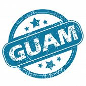 stock photo of guam  - Round rubber stamp with word GUAM and stars - JPG