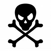 picture of skull cross bones  - Vector sign isolated on white background - JPG