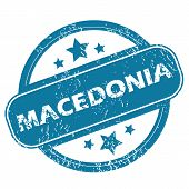 picture of macedonia  - Round rubber stamp with word MACEDONIA and stars - JPG