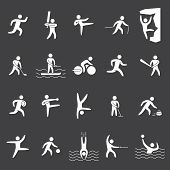 image of kickboxing  - White silhouettes figures of athletes popular sports - JPG