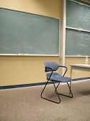 image of midterm  - view of a classroom with writing board and chair representative of the concept of education - JPG