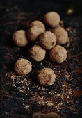image of truffle  - truffle candy on a dark vintage surface - JPG