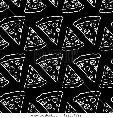 Trendy Fast Food Pattern With Hand Drawn Pizza Cute Vector Black