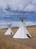 pic of tipi  - two blackfeet indian tepee - JPG