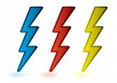 stock photo of lightning bolt  - collection of red blue and yellow lightning bolts cartoon - JPG