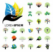 Human Life Logo Icons Of Abstract People Tree Vectors poster