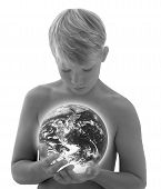 Boy_Holding Earth_Black N White
