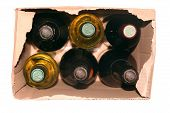 stock photo of six pack  - six bottles of italian wine in a carton box - JPG