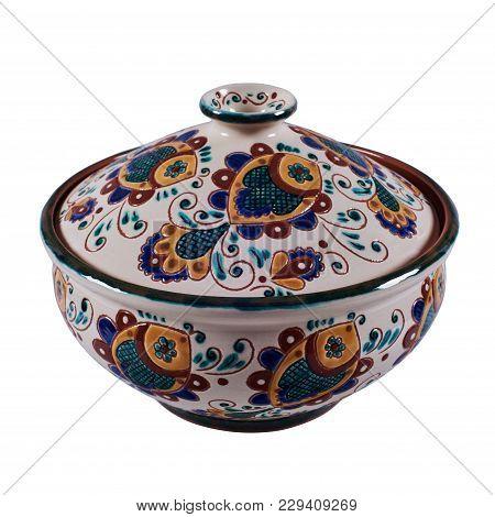 Постер, плакат: Covered With Glaze Ceramic Handmade Pot Painting In The Technique Kosovo Ceramics It Really Authe, холст на подрамнике