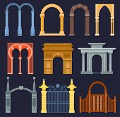 Arch Gate Vector House Exterior Design Architecture Construction Frame Classic, Column Structure Gat poster
