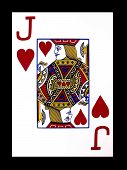 foto of playing card  - a Jack of Hearts playing card over a black background - JPG