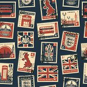 Постер, плакат: Retro Postage Seamless Background Vector Seamless Pattern On Uk And London Theme With Postage Stamp