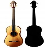 Musical Instrument - Realistic Layout Of Acoustic Guitar And Guitar Silhouette, Close-up poster