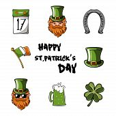 Happy St. Patrick S Day Vector Illustration Icon Set. Traditional Irish Symbols In Modern Flat Style poster