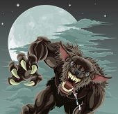 picture of wolfman  - A frightening werewolf in front of moonlit sky - JPG