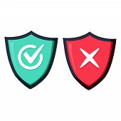 Shields And Check Marks Icons Set. Red And Green Shield With Checkmark And X Mark. Protection And Sa poster