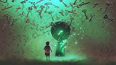 Little Boy Standing In Front Of The Keyhole With The Green Light And Many Keys Floating Around Him,  poster