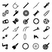 Fresh Bicycle Part Icons Pack. Icon Of Bicycle Component.mountain Bike Parts. Vector Ilustration. poster