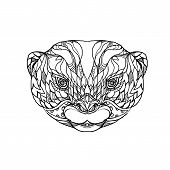 Постер, плакат: Doodle Art Illustration Of Head Of Oriental Small clawed Otter Asian Small clawed Otter Or Small cl