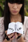 image of chatterbox  - folded paper word game known as chatterbox cootie catcher fortune teller salt cellar or whirlybird - JPG