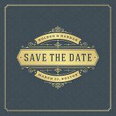 Wedding Save The Date Invitation Card Vector Illustration. Wedding Invite Title Vintage Design. Gold poster