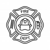 Fire Department Badge Linear Icon. Firefighting Emblem With Helmet, Ladder And Extinguisher. Thin Li poster