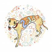 Yellow Dog For New Year 2018, Cute Symbol Of Horoscope. Cute And Pretty Italian Greyhound For Holida poster