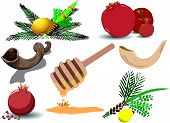stock photo of sukkot  - A pack of Vector illustrations of famous Jewish symbols for the Jewish Holidays New Year - JPG