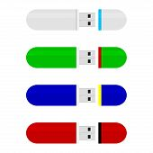 Colored Flash Drive Stick Collection Vector. Flash Drive Stick Memory For Storage, Accessory Flashdr poster
