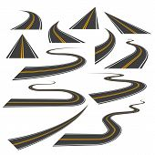 Big Set Of Asphalt Road Curves, Turns, Bankings, And Perspectives. Bending Path, Way Or Roadway Vect poster