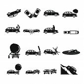 Accident Car Crash Case Icons Set. Simple Illustration Of 16 Accident Car Crash Case Vector Icons Fo poster