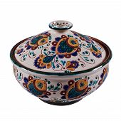 Постер, плакат: Covered With Glaze Ceramic Handmade Pot Painting In The Technique Kosovo Ceramics It Really Authe