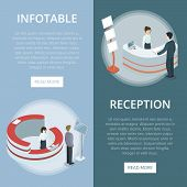 Administration And Information Reception Desk Isometric Vertical Flyers. Company Exhibition Ad Stand poster