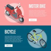 Personal Transport Isometric Horizontal Flyers With Motorbike And Bicycle. Compact And Eco Vehicles, poster