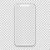 White Mobile Concept With Empty Screen For Any Application Design And Backdrop, Phone Template Isola poster