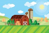 Farm Barn And Grain Storage On Agricultural Field With Haystacks Rural Landscape Vector Illustration poster